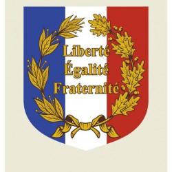 Écusson porte-drapeaux - Palmes et devise française - Gamme premium