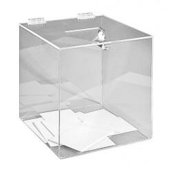 Urne électorale cubique transparente en plexi - 500 bulletins - Net Collectivités