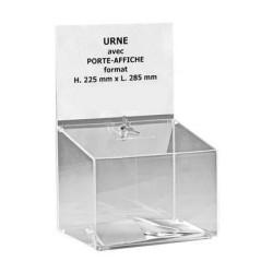 Urne de comptoir en plexi incolore avec porte affiche - 500 bulletins - Net Collectivités