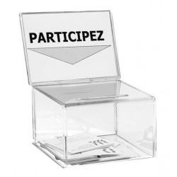 Petite urne en plexiglas incolore avec porte affiche - 200 bulletins - Net collectivités