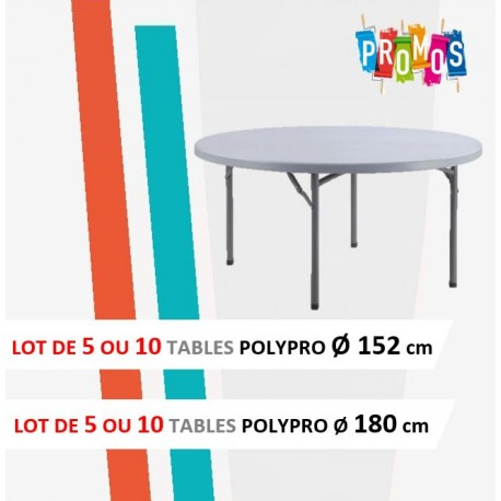 Destockage table pliante polypro ronde