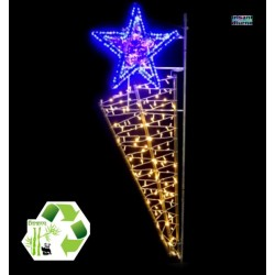 Décor lumineux de Noël en Bambou - modèle Étoile filante - décoration de noël pour poteau