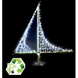 Décor de Noël lumineux en Bambou - modèle voilier lumineux à poser
