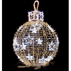 Décor boule lumineuse en 3D sur pied pour parcs et jardins ou ronds-points - Net Collectivités