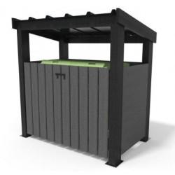 Abri pour conteneur en recyclé avec toit