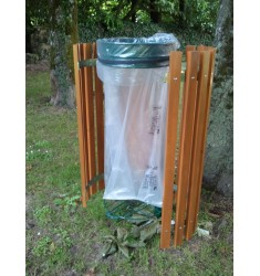 Support sacs-poubelles entourage bois