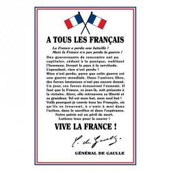 """Plaque PVC ou PLEXi """"À tous les français"""" Général DE GAULLE"""