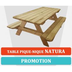 Table de pique-nique en bois avec bancs NATURA
