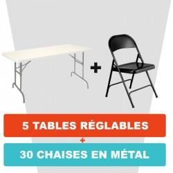 5 TABLES RÉGLABLES PLIANTES + 30 CHAISES PLIANTES EN MÉTAL