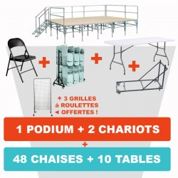 PODIUM MODULABLE + 48 CHAISES + 10 TABLES + 2 CHARIOTS + 3 GRILLES