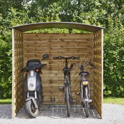 Abri vélo en panneaux de bois tressé