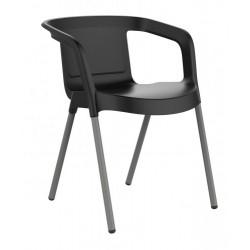 Chaise noire de jardin ou d'intérieur avec accoudoirs