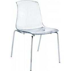 Chaise en polycarbonate et acier chromé