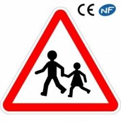 Panneau de signalisation en aluminium vigilance enfants sur les lieux