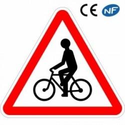 Panneau routier VIGILANCE PASSAGE DE CYCLISTES ET CYCLOMOTORISTES (A21)