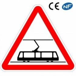 Panneau routier signalant l'arrivée d'une zone où les tramways traverses les voies