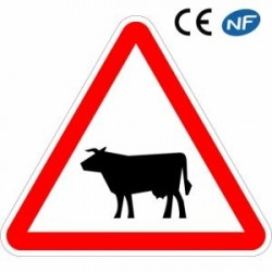 Panneau routier aluminium passage d'animaux domestiques (A15a1)