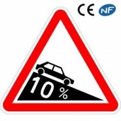 Panneau routier signalant une pente dangereuse
