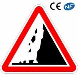 Panneau de circulation zone à risque de chute de pierres
