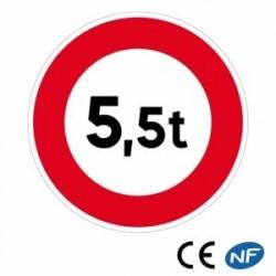 Panneau de signalisation limitant le poids sur une voie bien précise.