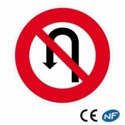 Panneau deroute en aluminium interdit de faire demi-tour (B2c)