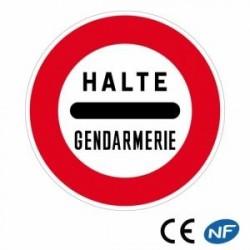 Panneau de circulation arrêt obligatoire au poste de gendarmerie (B5a)