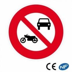 Panneau de route indiquant un interdit aux véhicules à moteur (B7a)