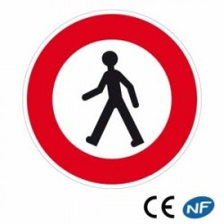 Panneau de signalisation indiquant un accès interdit à tout les piétons (B9a)