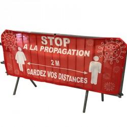 Housse pour barrière Vauban avec message de distance à tenir