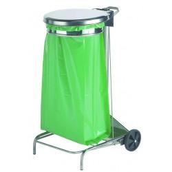 Support pour sac poubelle en inox capacité de 110 L