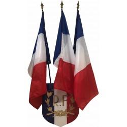 1 écusson et ses 3 drapeaux français