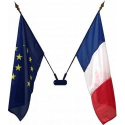 Porte 2 drapeaux de façade + 2 drapeaux