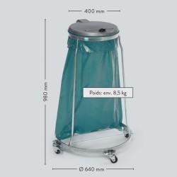 Support sac poubelle en acier avec roues et couvercle