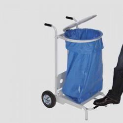 Chariot support sac avec pédale pour un sans contact avec les mains HACCP