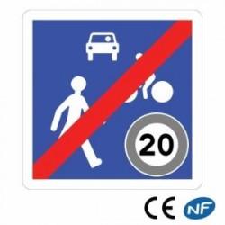 Panneau de circulation indiquant une fin de zone de rencontre (B53)