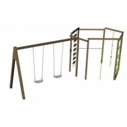 Balançoires et jeux de grimpe pour les enfants de 3 à 12 ans