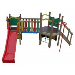 Structure toboggan et barre de pompier pour les petits 2-6 ans