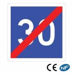 Panneau de circulation en alu annonçant une fin de vitesse conseillée C4b