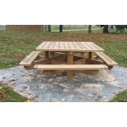 Table Pique Nique e bois carrée 8 personnes