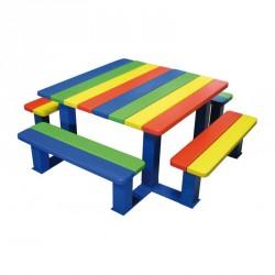 Table Pique Nique multicolore pour écoles