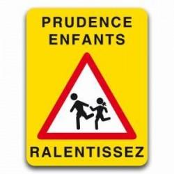 Panneau jaune signalisation prudence enfants, ralentissez