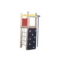 Petit module de jeux tour des pompiers avec mur d'escalade et filet de grimpe