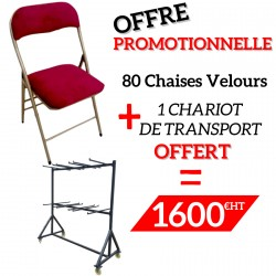 Lot de 80 chaises pliantes velours Bordeaux OPERA + 1 chariot de transport offert