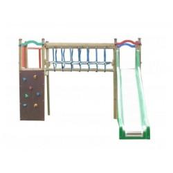 """Module de jeux """"Le pont des aventures"""" avec toboggan, mur d'escalade et barre de pompiers"""