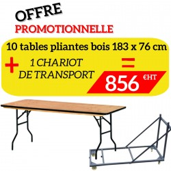 lot de tables pliantes tarragone et son chariot de transport