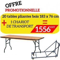 Lot de 20 tables pliantes en bois et son chariot de transport