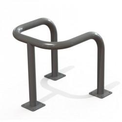 Étrier en acier peint sur 3 pieds. Platines chevillées au sol Ø60 mm 600 x 600 mm
