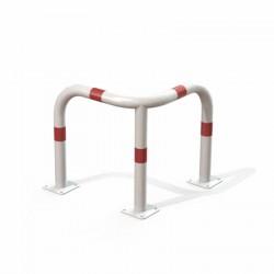 Arceau de sécurité d'angle blanc et rouge avec bandes rouges réfléchissantes