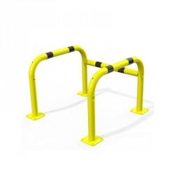 Étrier de protection jaune et noir sur platines avec un côté ouvert