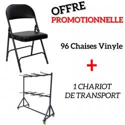 Lot 96 chaises vinyle pliantes avec chariot de transport